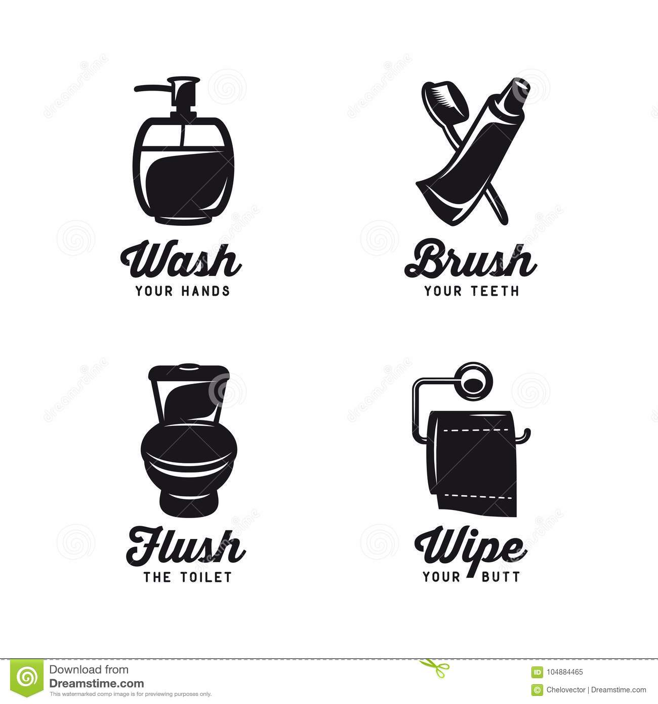 Bathroom Related Vintage Posters With Quotes. Vector