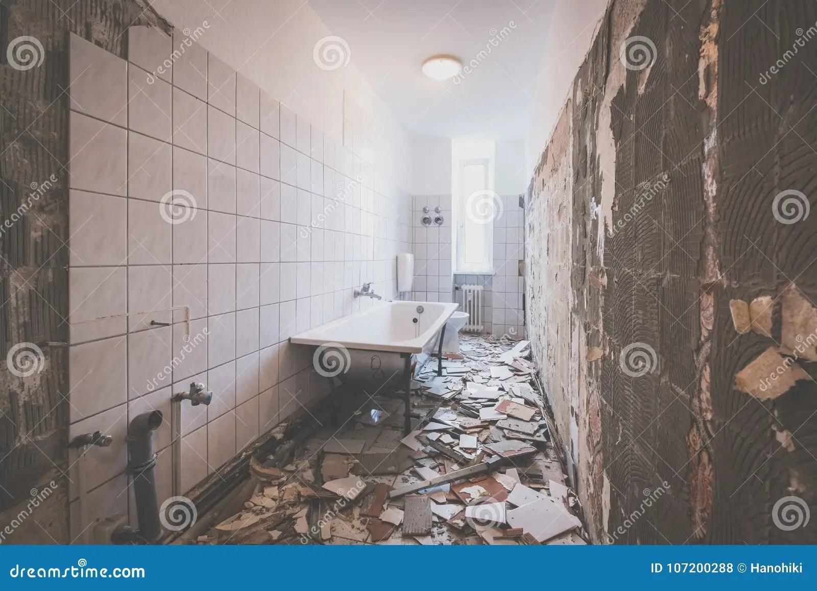 https www dreamstime com bathroom renovation removing tiles old apartment image107200288