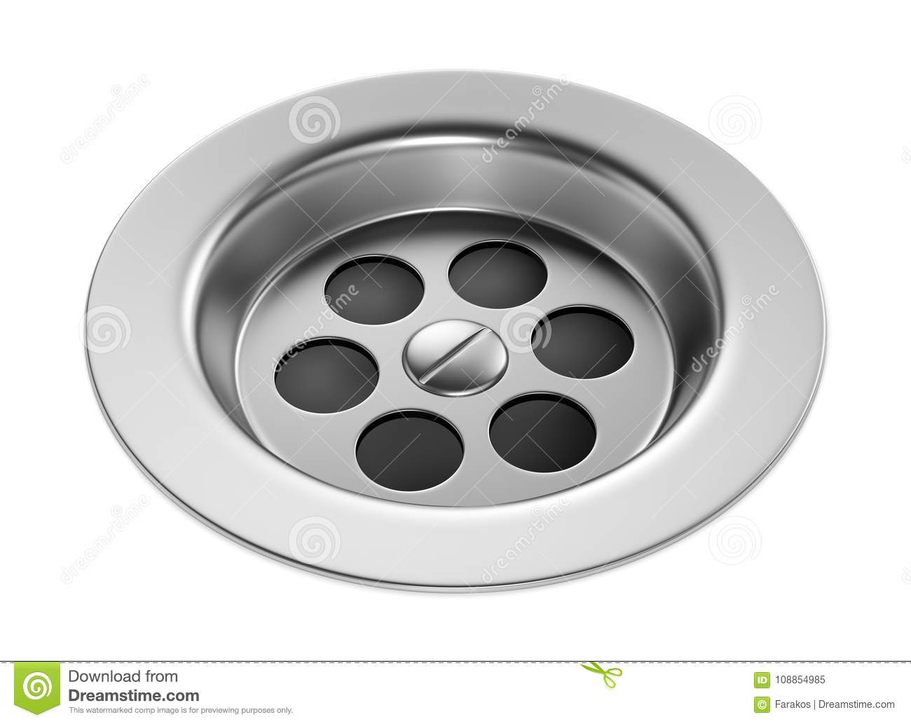 https www dreamstime com bathroom sink hole stainless steel isolated white background metal bath drain plug d illustration image108854985