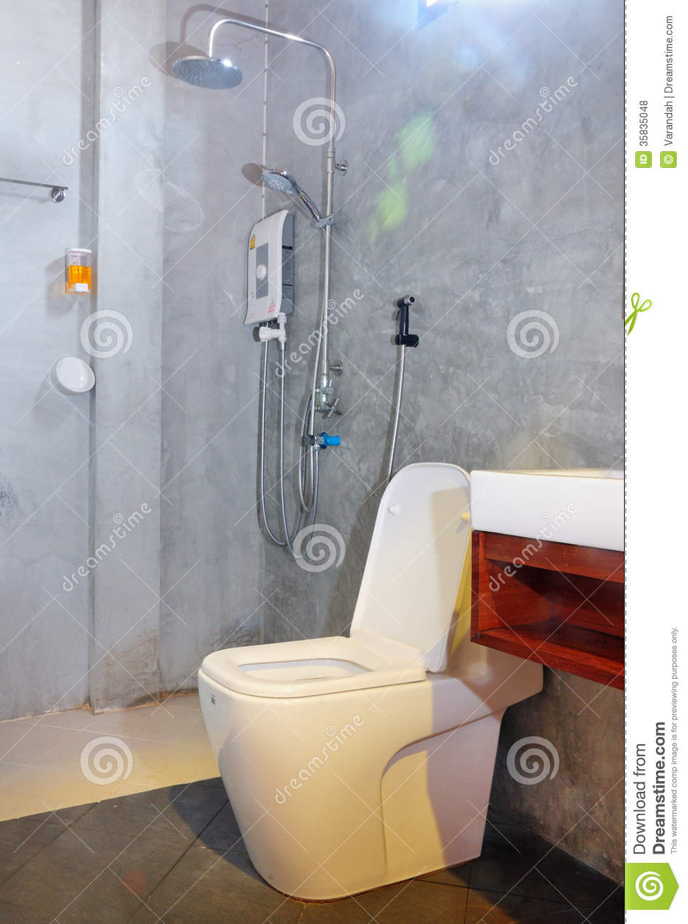 Bathroom And Toilet In Loft Style Royalty Free Stock
