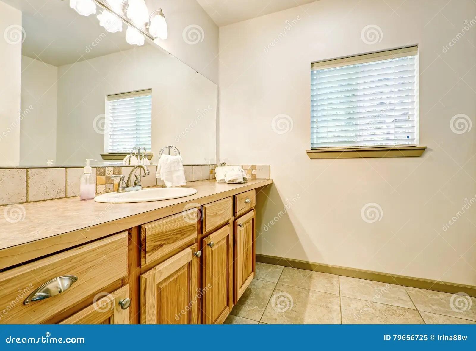 Bathroom Vanity Made Of Natural Wood Stock Image Image Of Indoor Simple 79656725