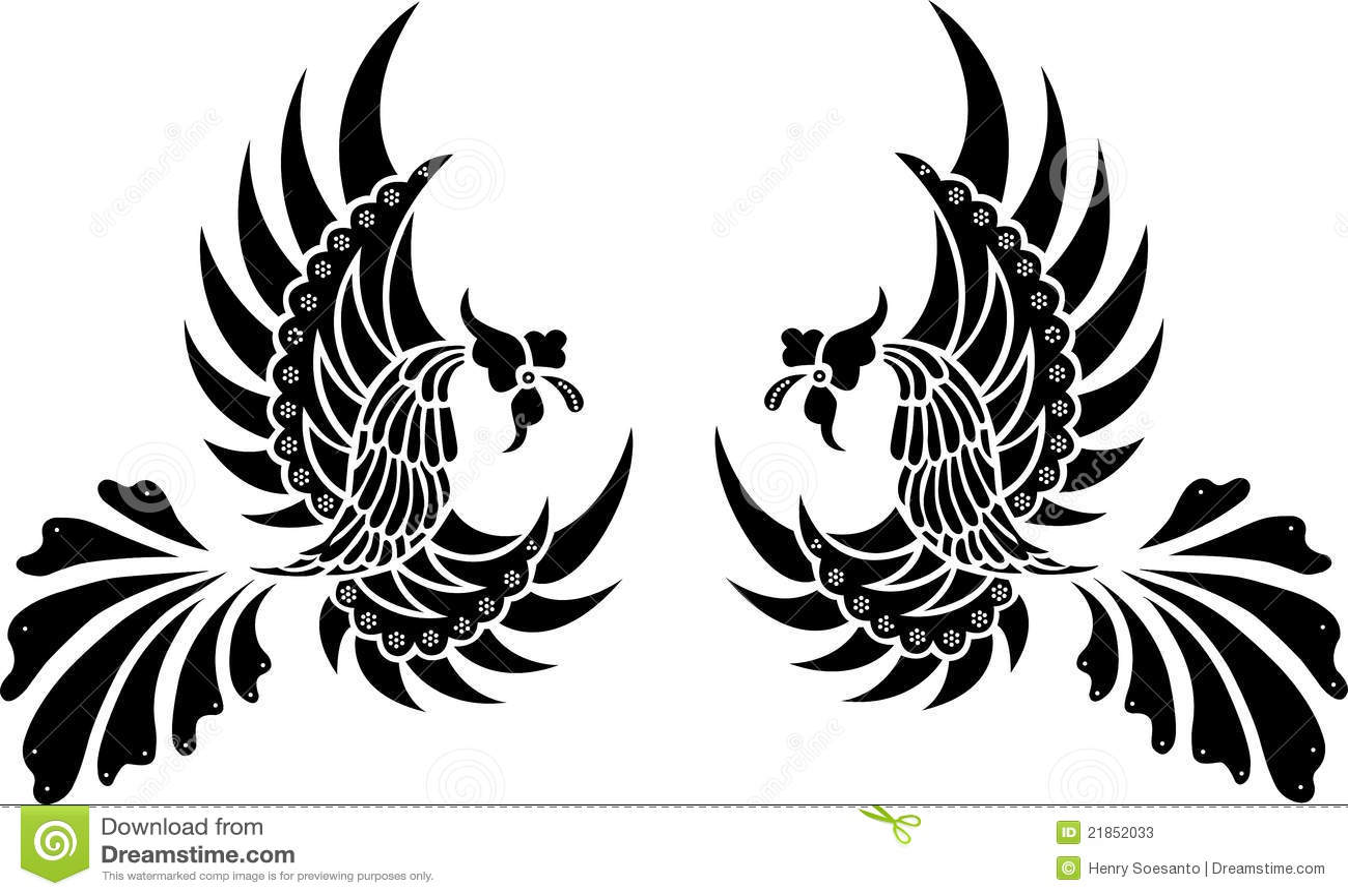 BatikStammes Vogel Getrennter Vektor Vektor Abbildung