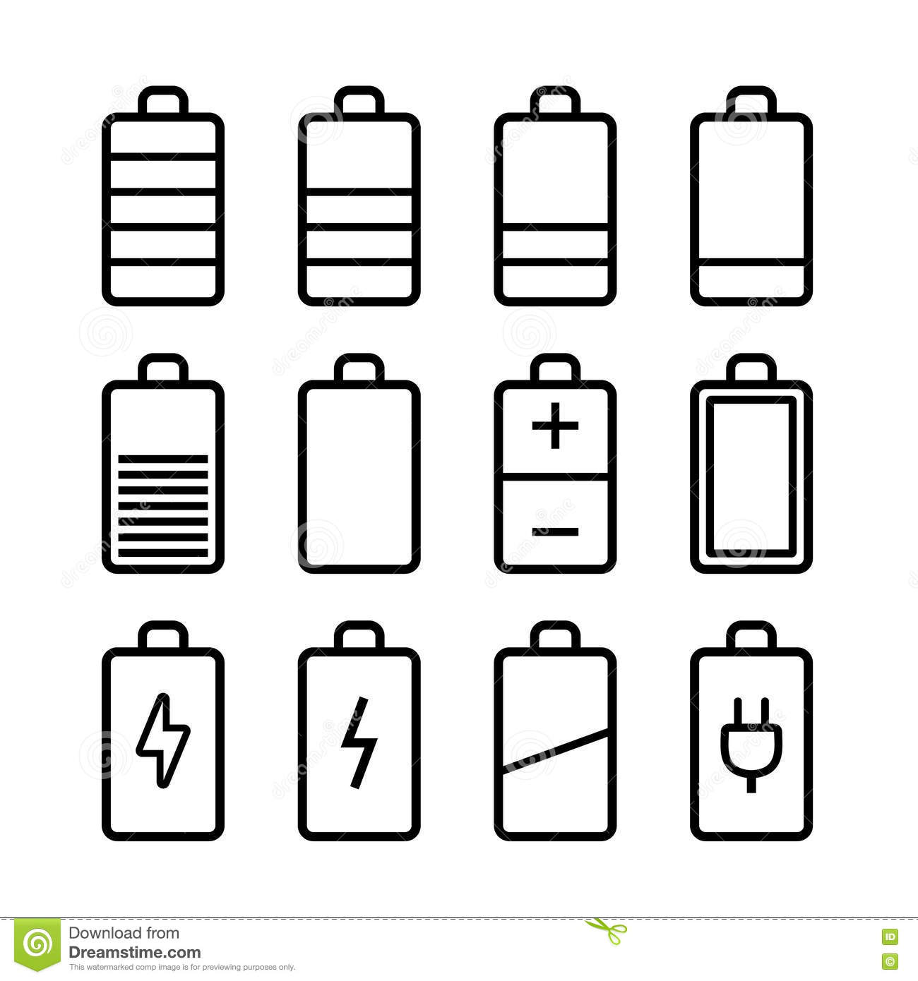 Battery Icons Set In Ios7 Style Stock Image