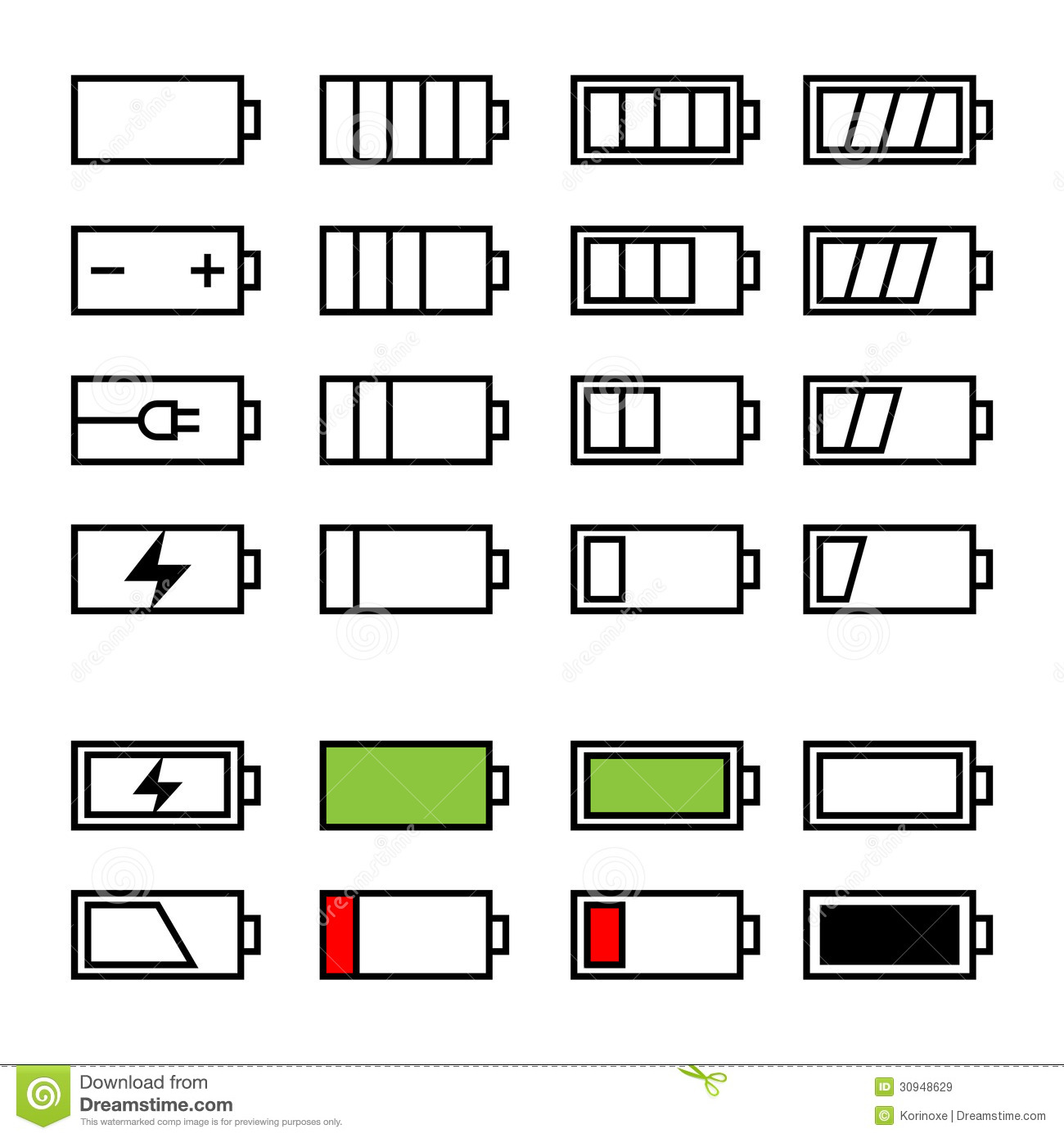 Battery Icons Set Stock Vector Illustration Of Empty