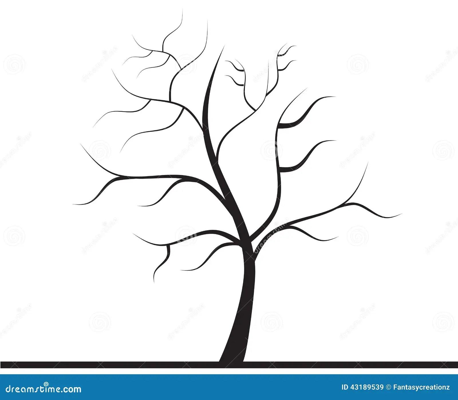 Baum ohne Blätter stock abbildung Illustration von