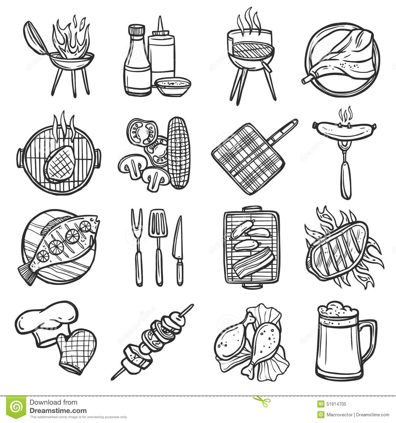 Bbq Grill Icons Set Stock Vector