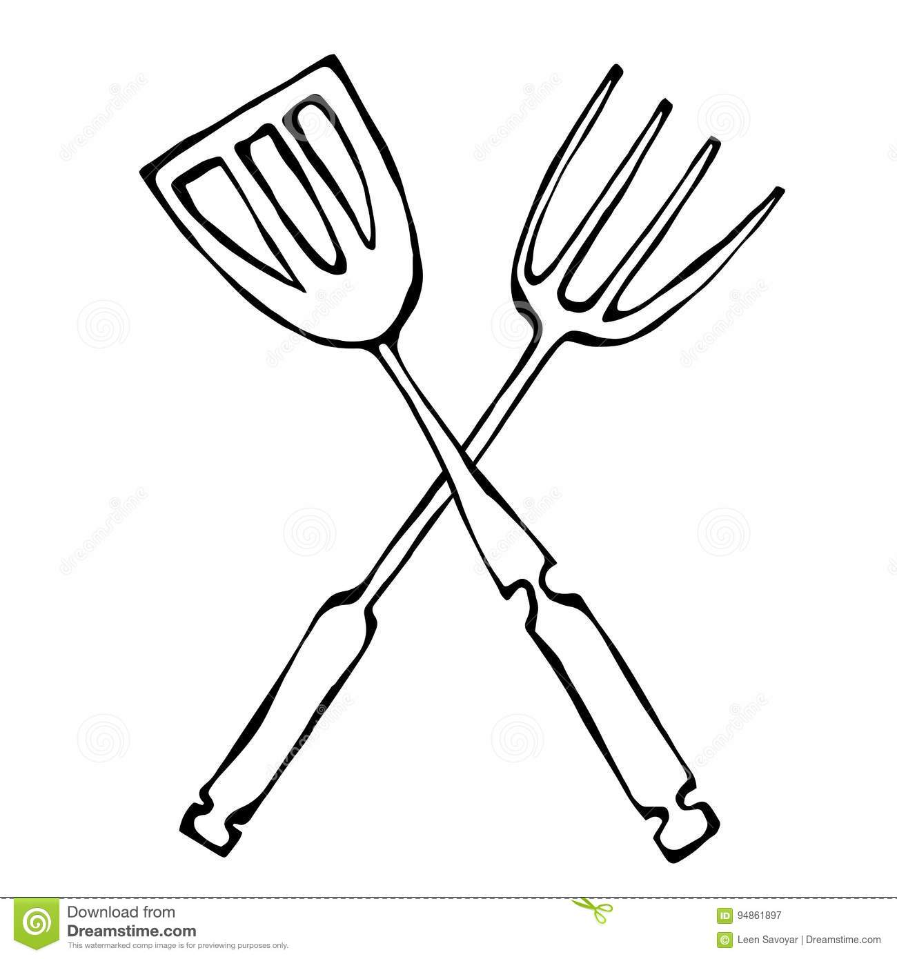 Bbq Or Grill Tools Icon Crossed Barbecue Fork With