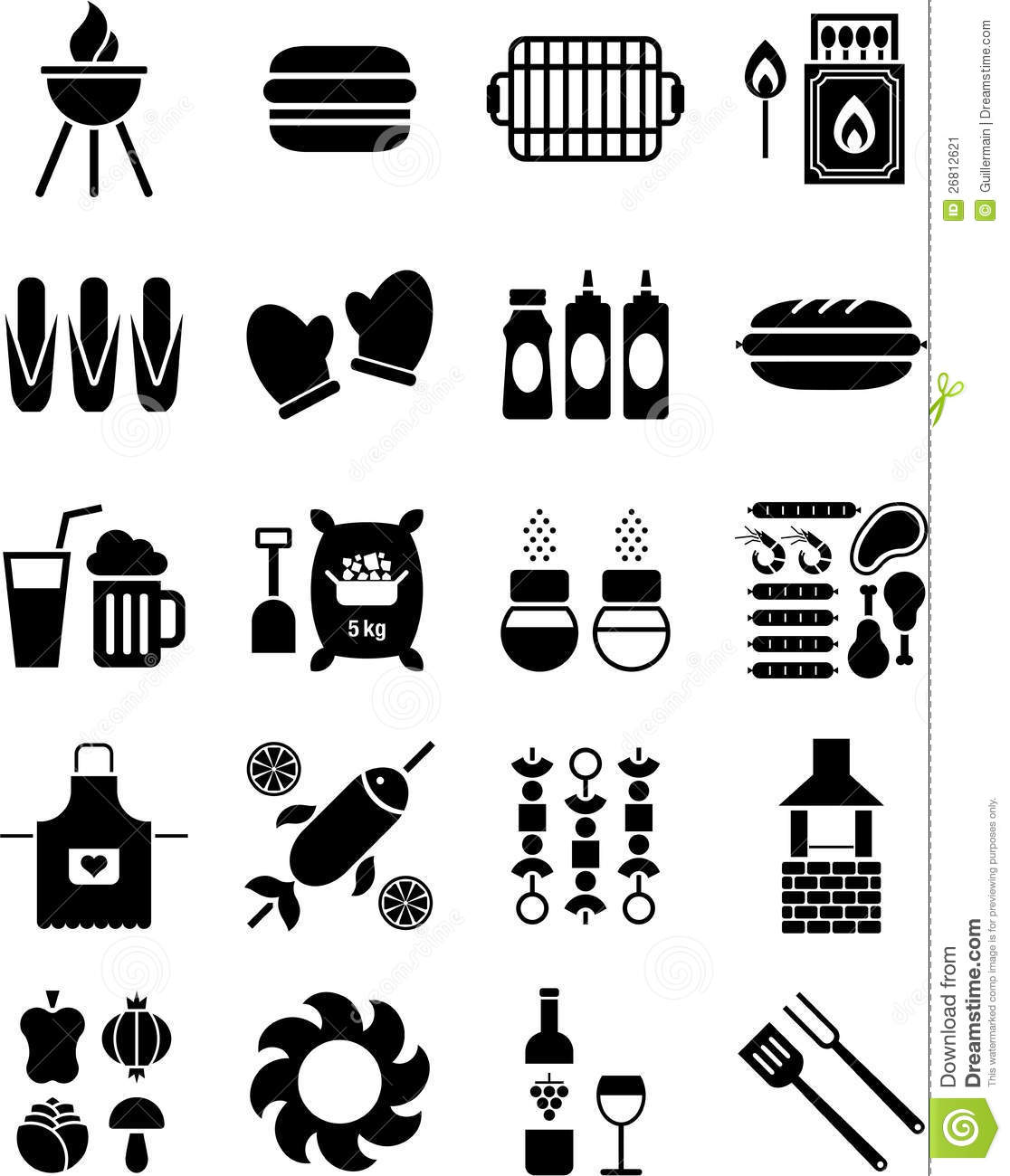 Bbq Icons Stock Vector Illustration Of Meat Gloves