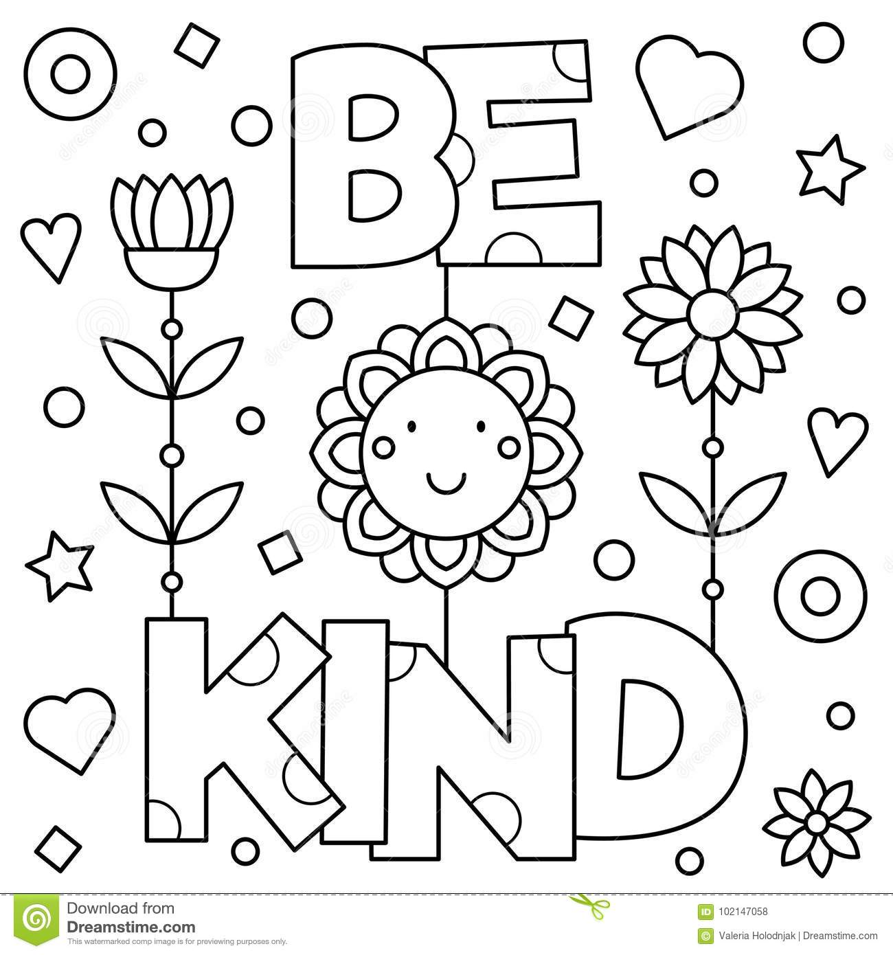 Be Kind. Coloring Page. Vector Illustration. Stock Vector