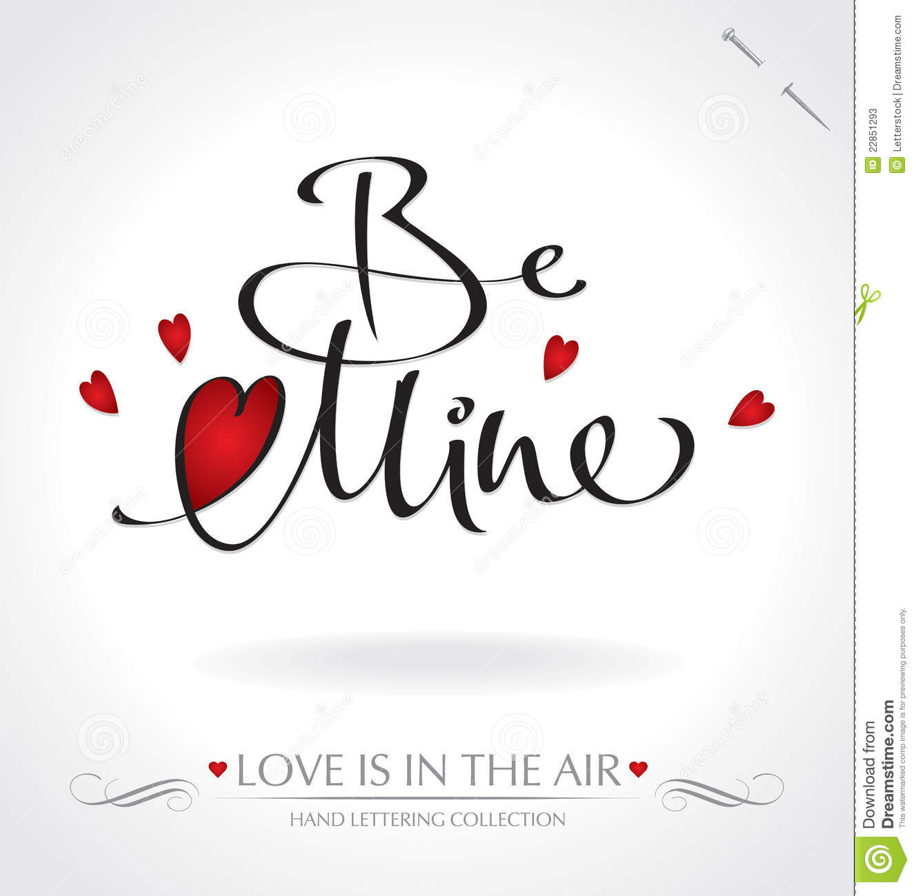 Be Mine Hand Lettering Vector Stock Photos Image 22851293