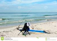 Beach Chair With Fishing Rod Stock Photo - Image: 46308892