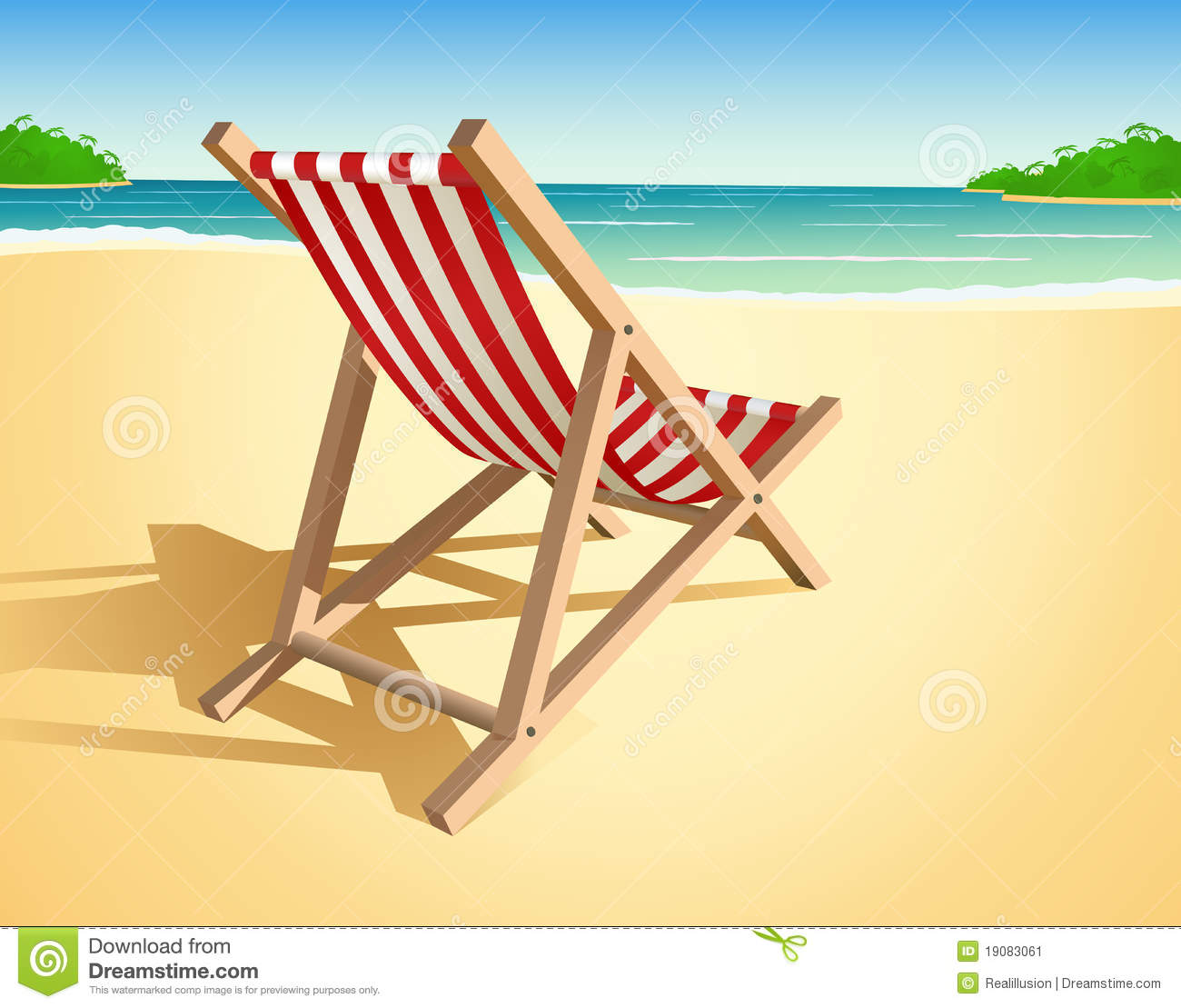 wooden lounge chair plans walmart camping chairs beach illustration stock vector. image of object - 19083061
