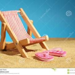 Pink Beach Chair Folding Wooden Camp Chairs On With Blue Sky Stock Photography