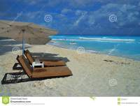 Beach And Chairs In Cancun, Mexico Royalty Free Stock ...