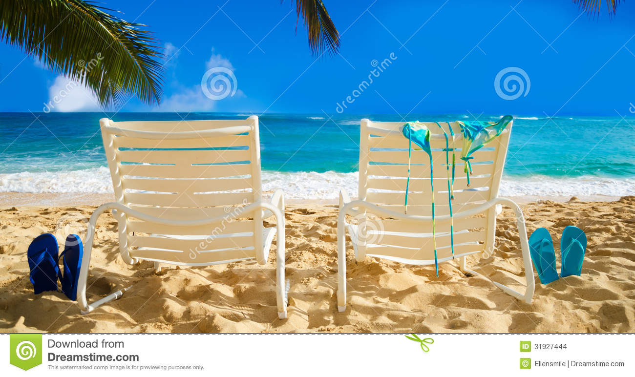 flip flop chair deck book stand beach chairs with flops by the ocean stock photo