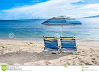 Beach Chairs On Tropical Beach Stock Image - Image: 38086865