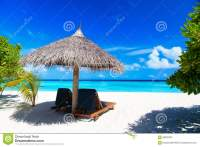 Beach Chairs On The Tropical Beach Stock Photo - Image ...