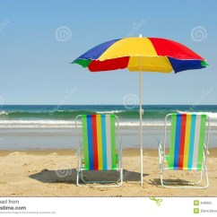 Beach Chairs And Umbrella Costco Folding Stock Image Of Blue Beaches 949825