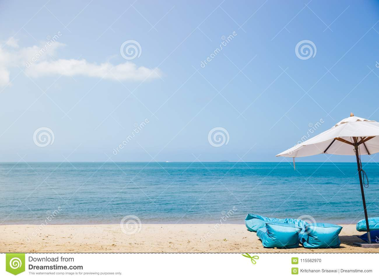 Beach Chairs With Umbrella Beach Chairs With Umbrella And Beautiful Beach Stock Photo Image