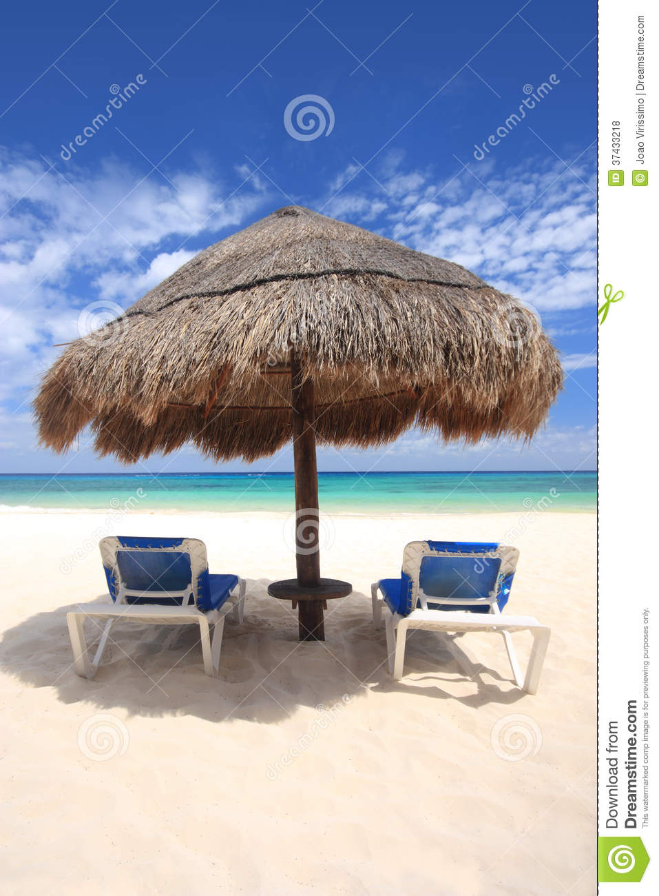 Beach Chairs Under Palapa Thatched Hut Royalty Free Stock