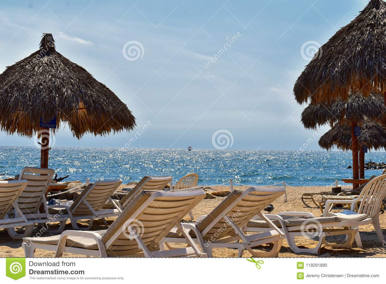 Blue Chairs Puerto Vallarta Beach City And Ocean View In Puerto Vallarta Mexico With Beach