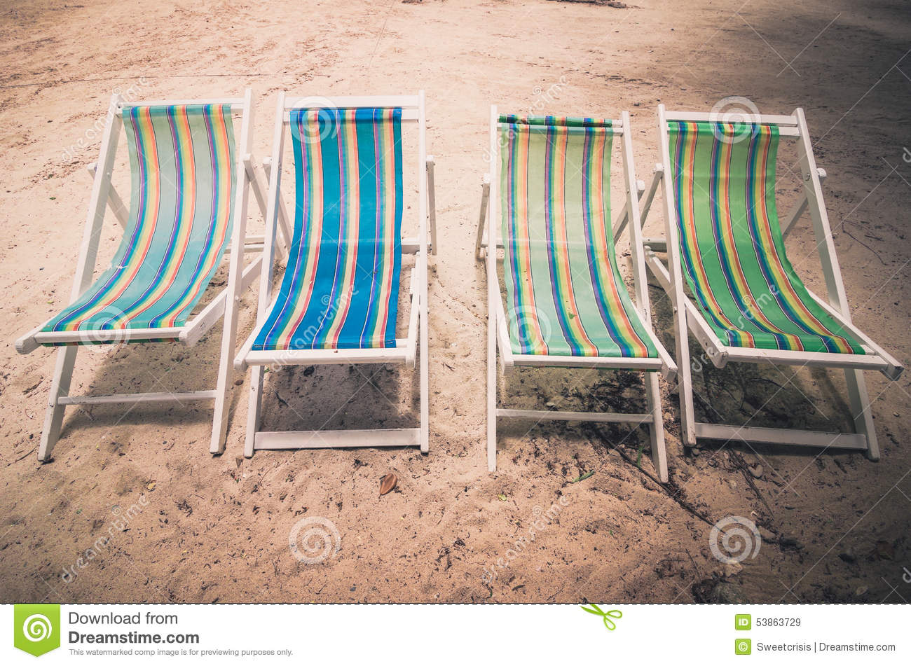 antique beach chair wood table metal chairs colorful vintage stock photo image 53863729