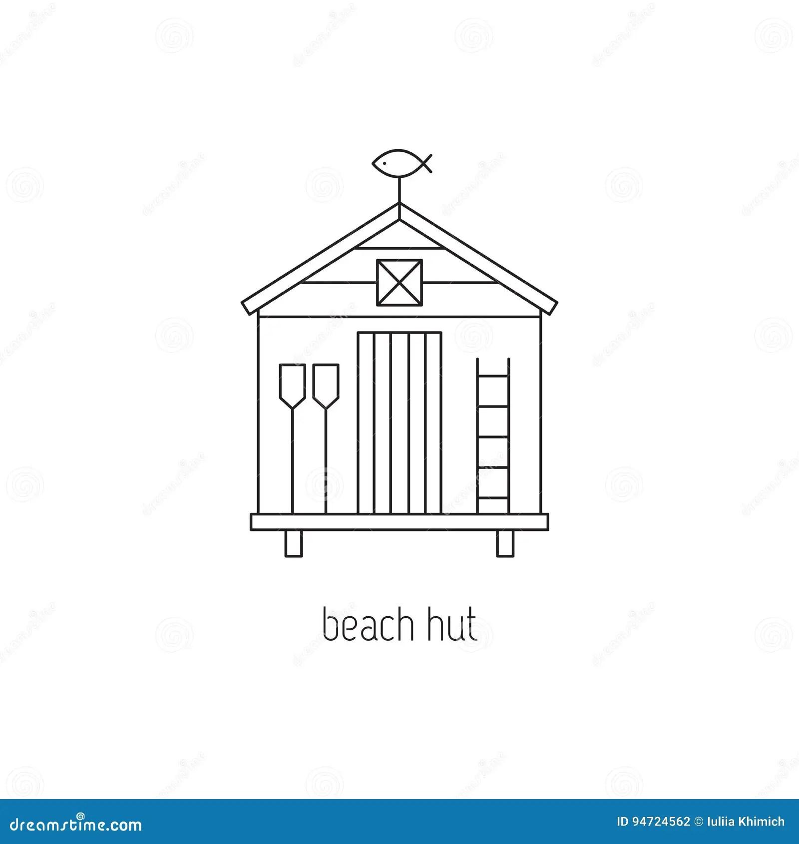 Beach hut line icon stock vector. Illustration of shack