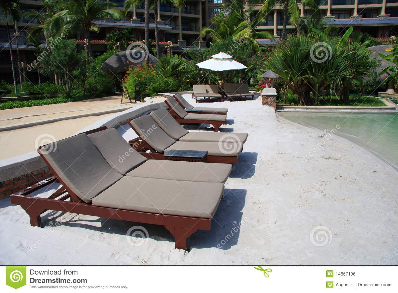 Beach Lounge Chairs Beach Lounge Chairs Stock Photo Image Of Resort Quiet 14867196