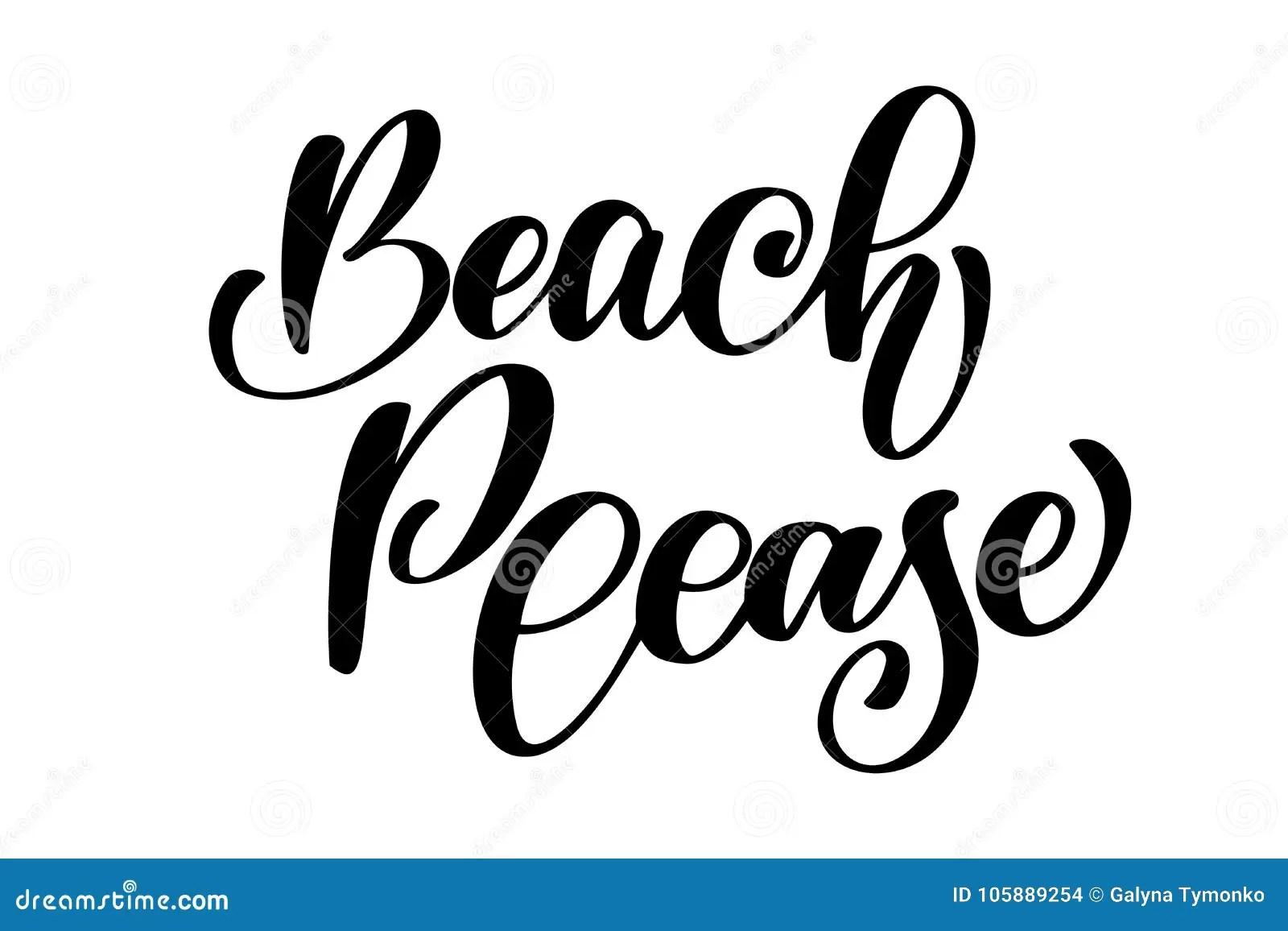 Beach Please Text Hand Drawn Summer Lettering Handwritten