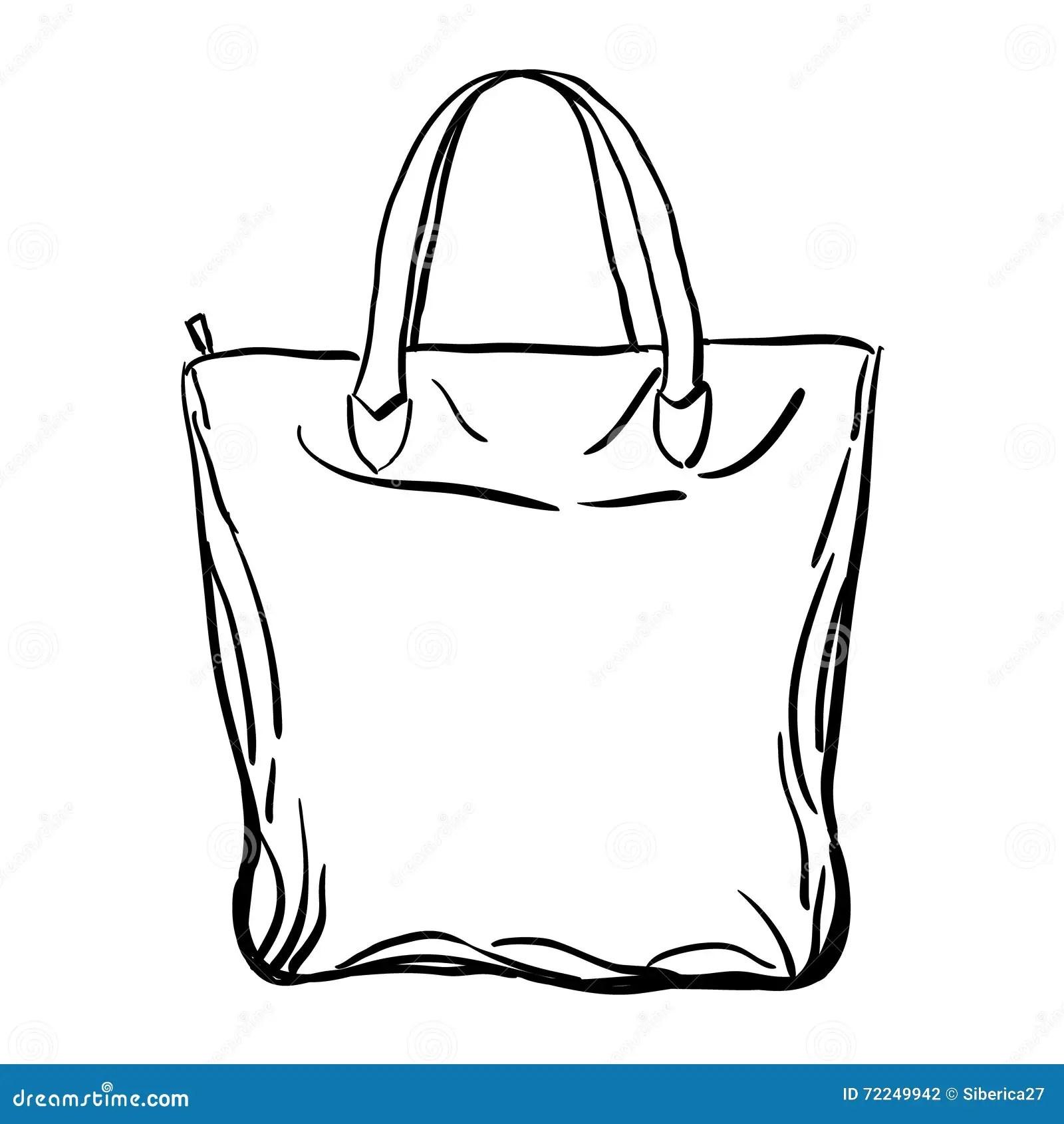 Beach Tote Bag Sketch Vector Illustration Stock Vector