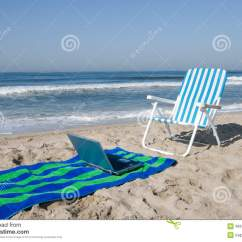 Office Chair Towel Stress Beach And Laptop Stock Image Of Summertime