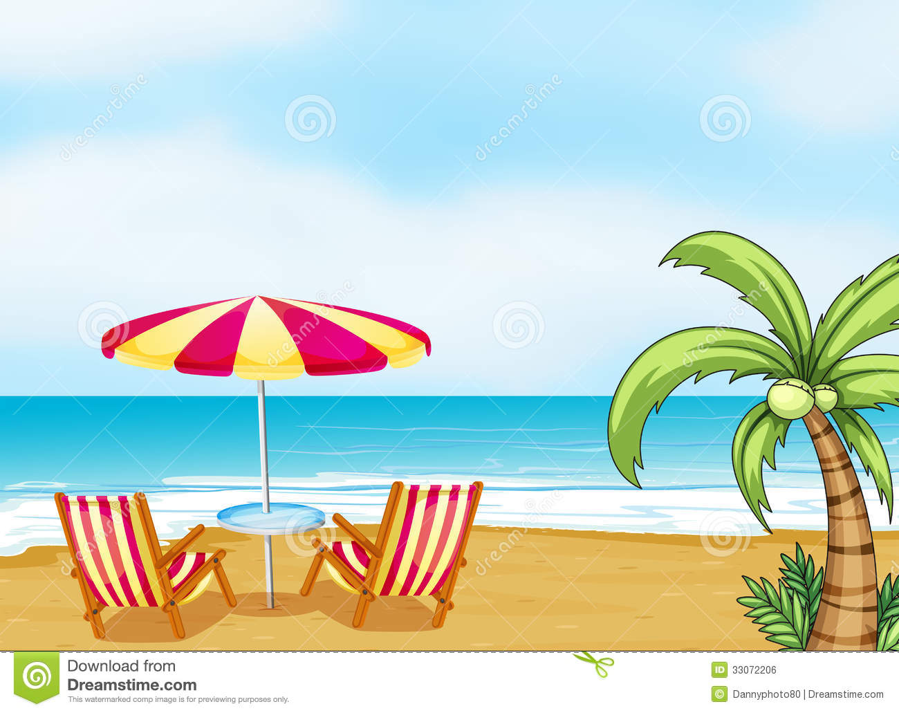 beach chairs and umbrella comfy for kids the with an stock vector illustration of