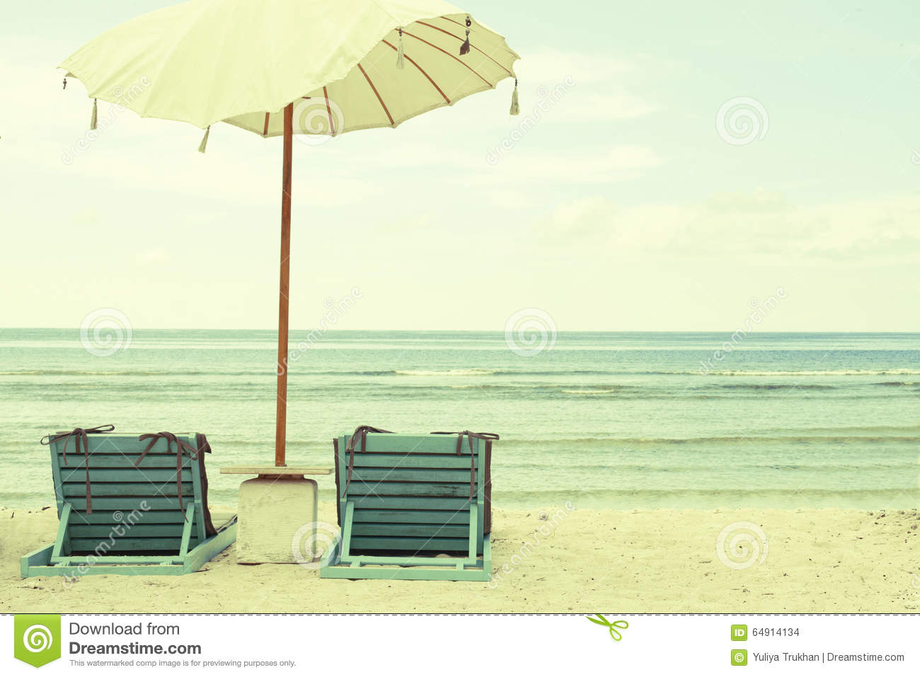 vintage beach chairs commercial sofas and umbrella postcard stock photo