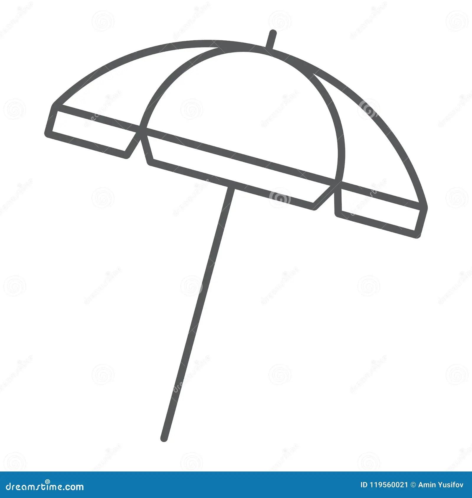 Beach Umbrella Thin Line Icon Travel And Parasol Stock