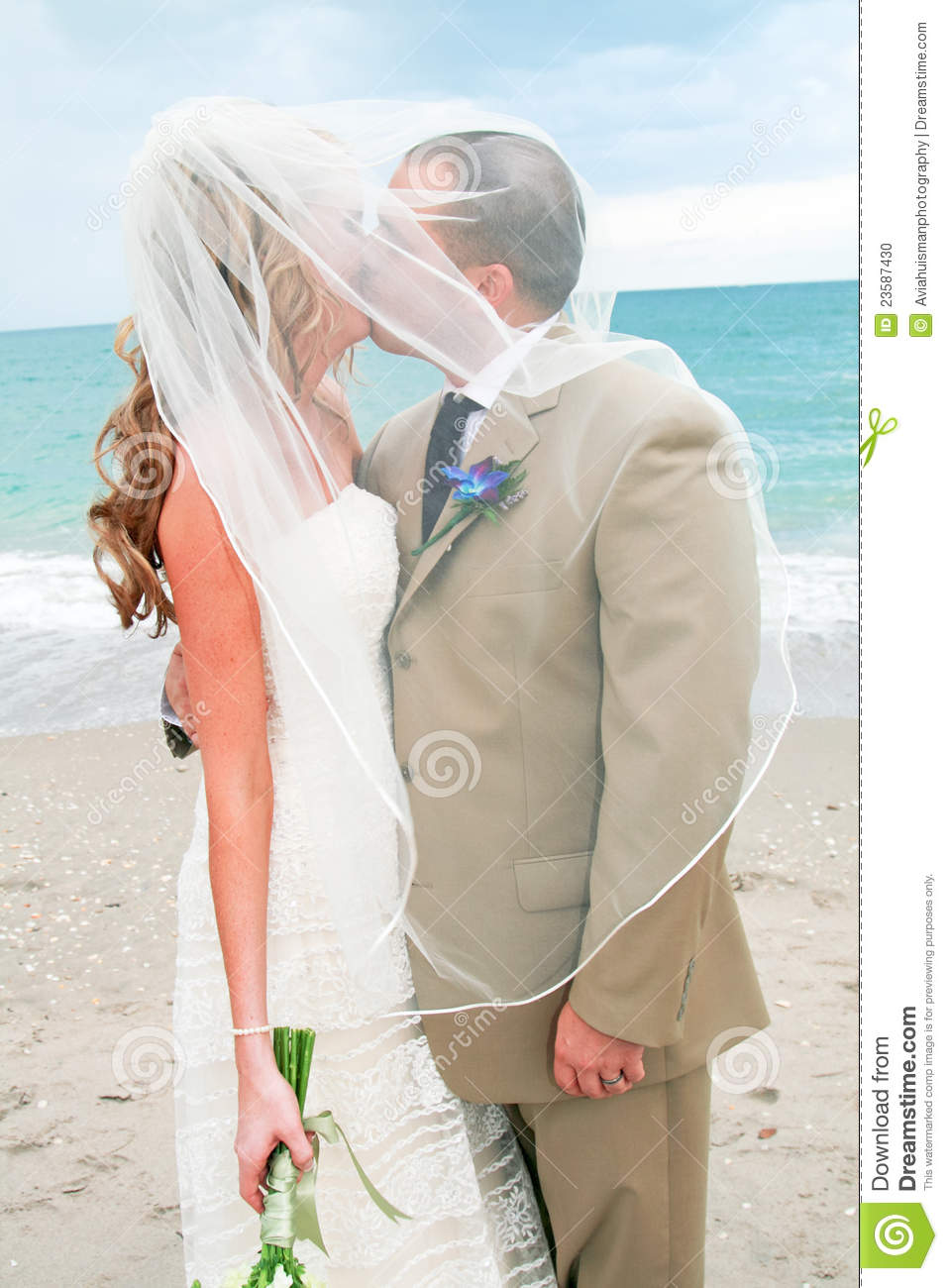 Beach Wedding Bride And Groom Kiss Stock Photo  Image 23587430