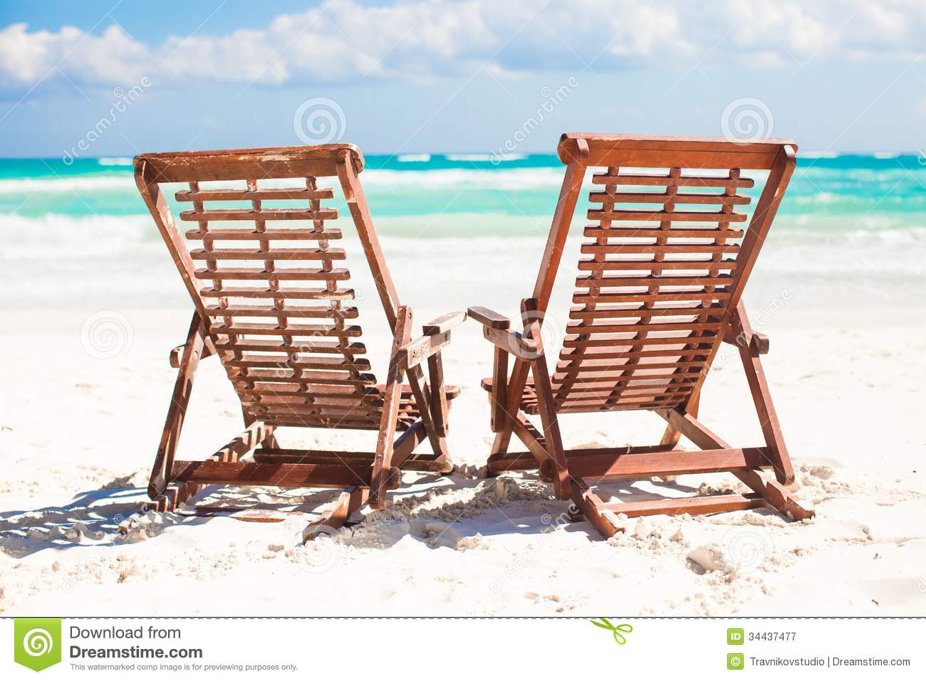 Beach Wooden Chairs For Vacations And Relax On Royalty