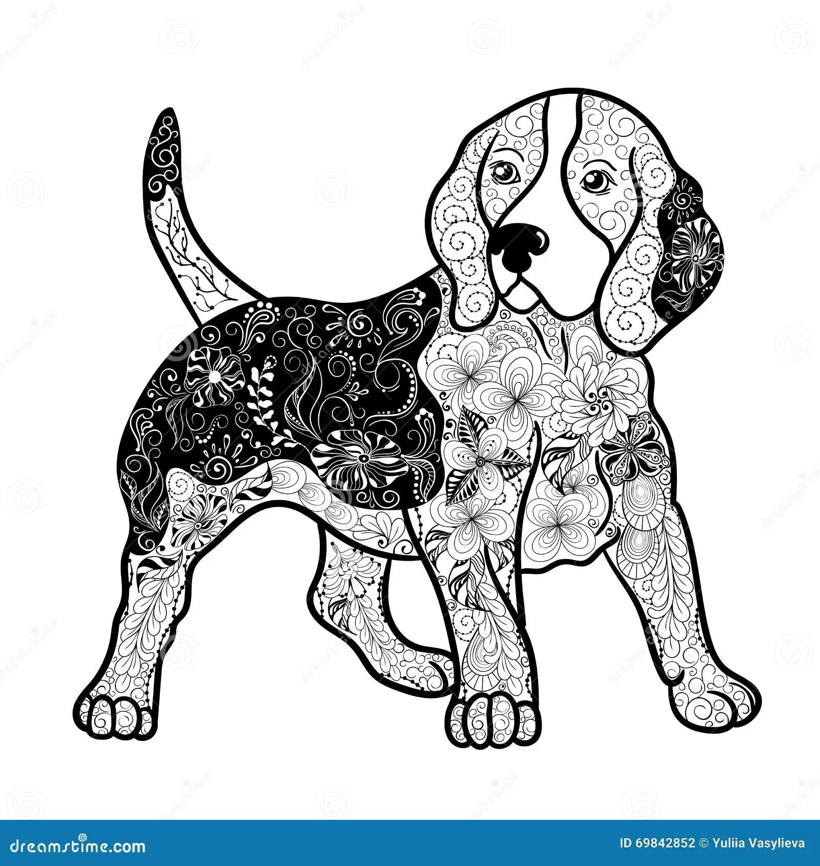 Beagle Dog Doodle Stock Vector Illustration Of Detailed