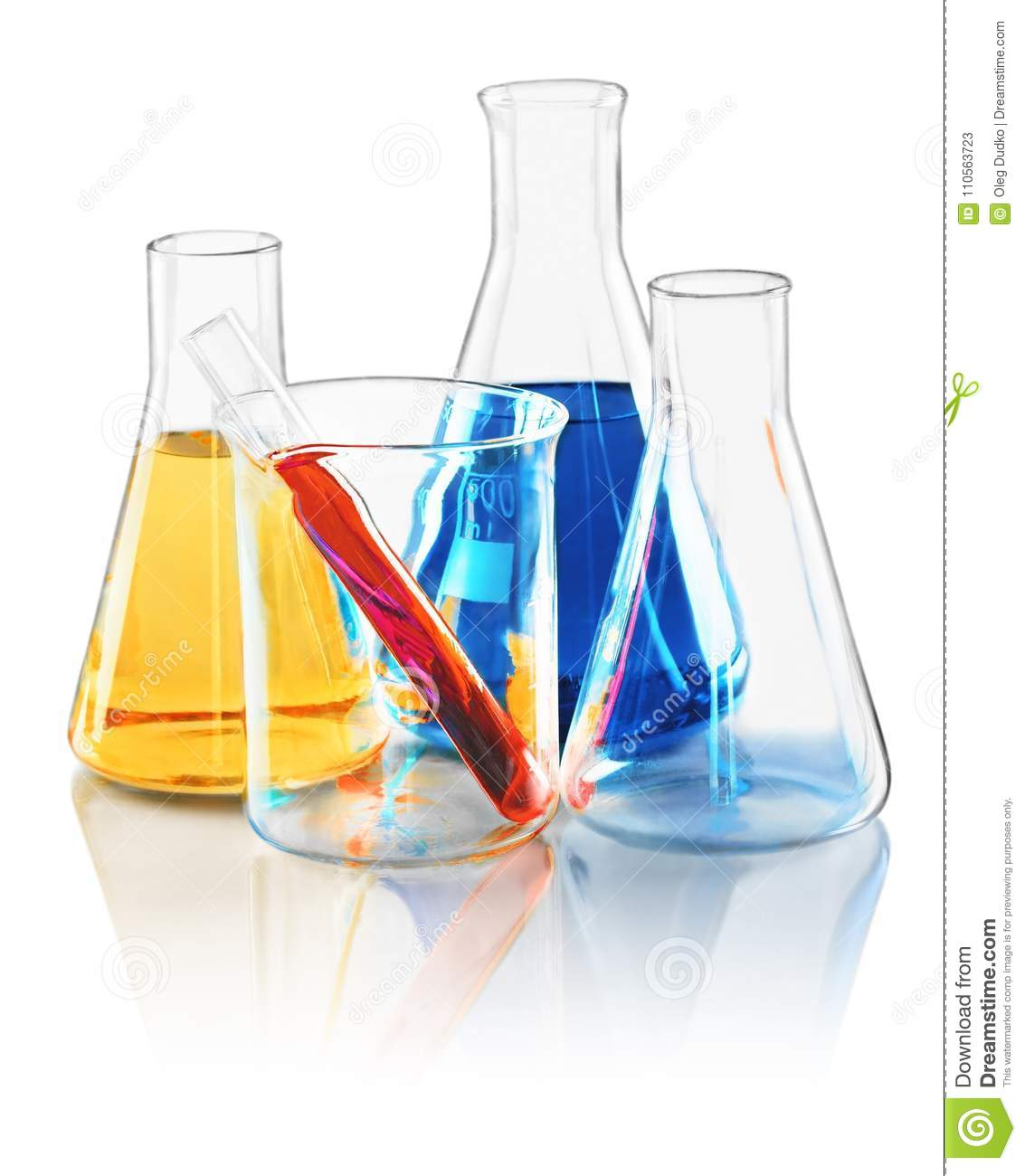 Flasks Beaker And Test Tube With Liquid Stock Image