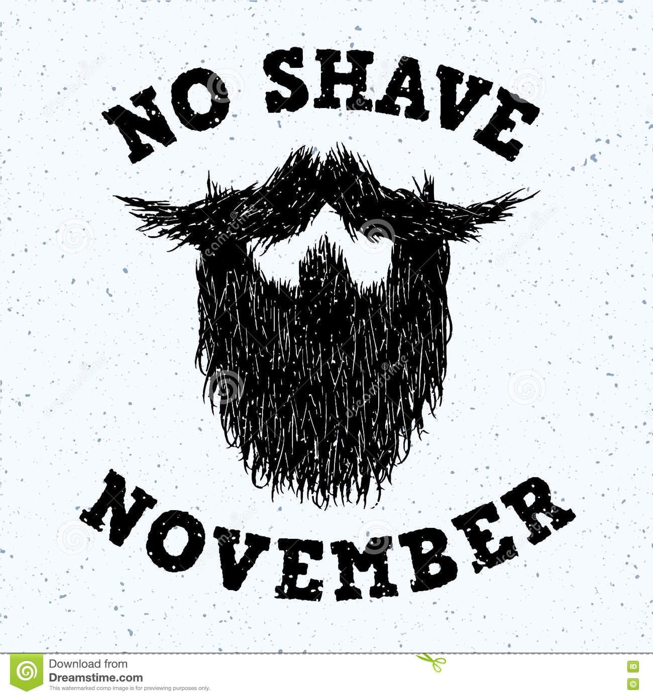 Beard Silhouette With No Shave November Lettering Print