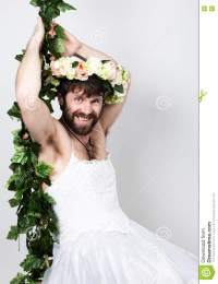 Bearded Man In A Woman's Wedding Dress On Her Naked Body ...