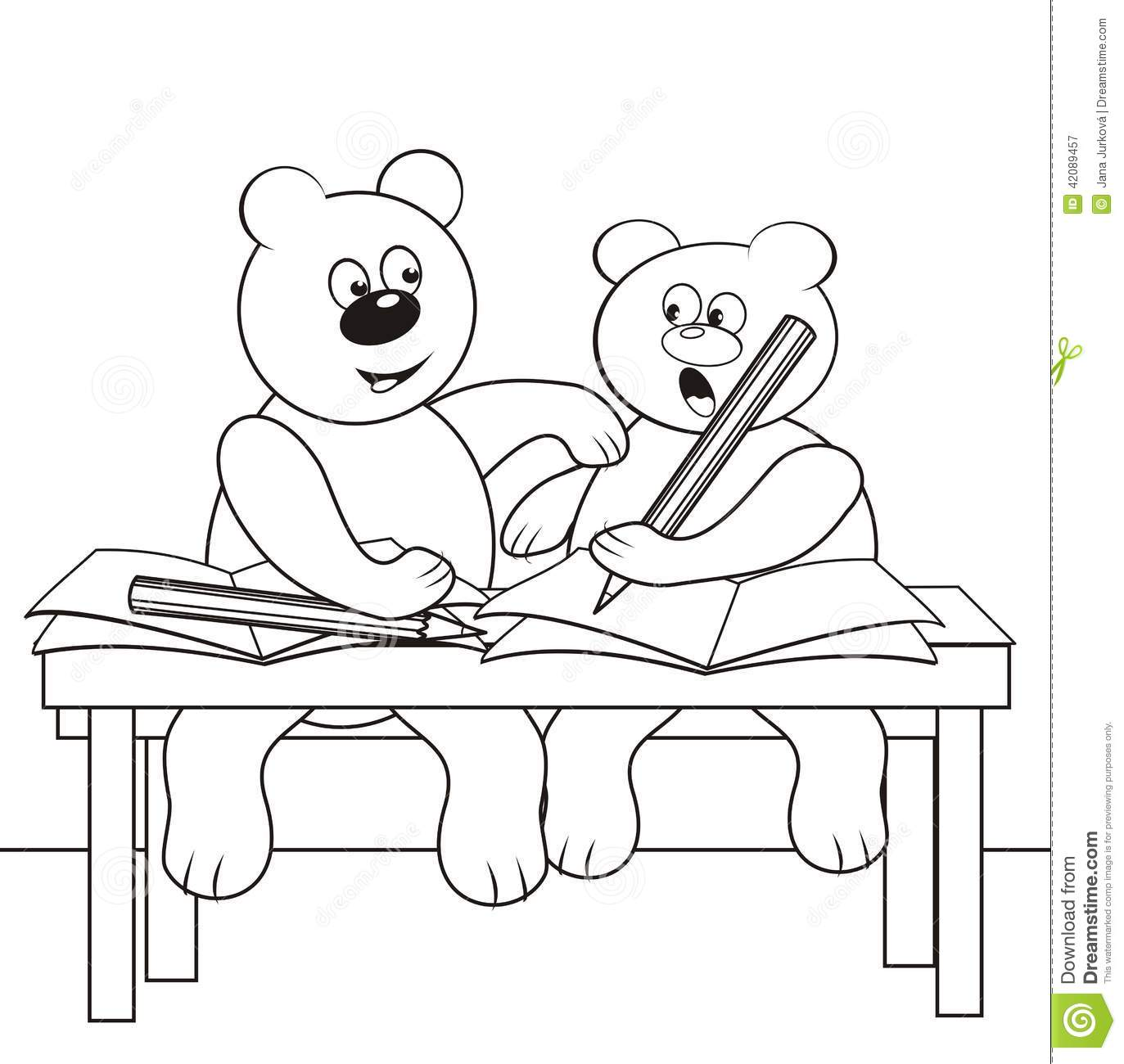 Bears In Classroom, Coloring Book, White And Black