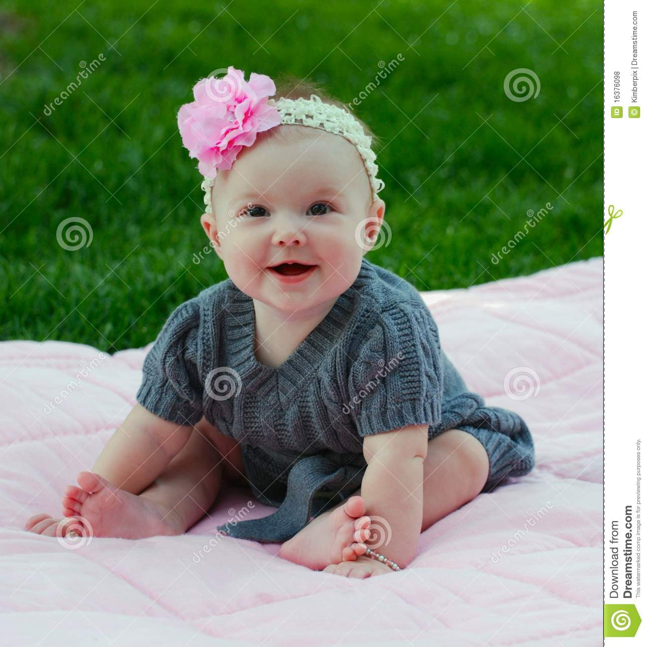 Cute Babies With Pink Dress Wallpapers Beautiful 5 Month Old Baby Girl Stock Photo Image Of