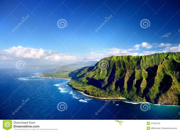 Beautiful Aerial View Of Na Pali Coast Stock
