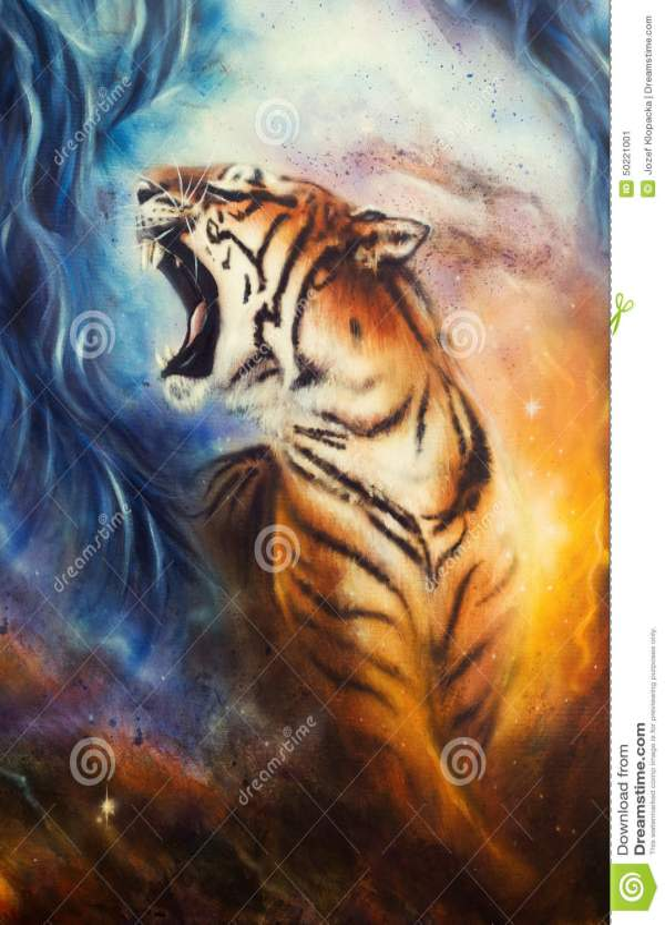 Beautiful Airbrush Painting Of Roaring Tiger