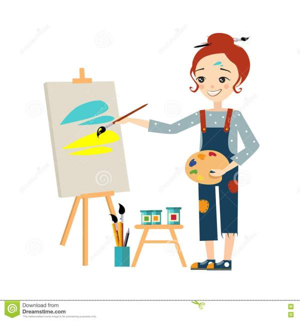 Beautiful Artist Woman Painting Canvas Stock