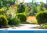 Beautiful Backyard Landscape Design. View Of Colorful ...
