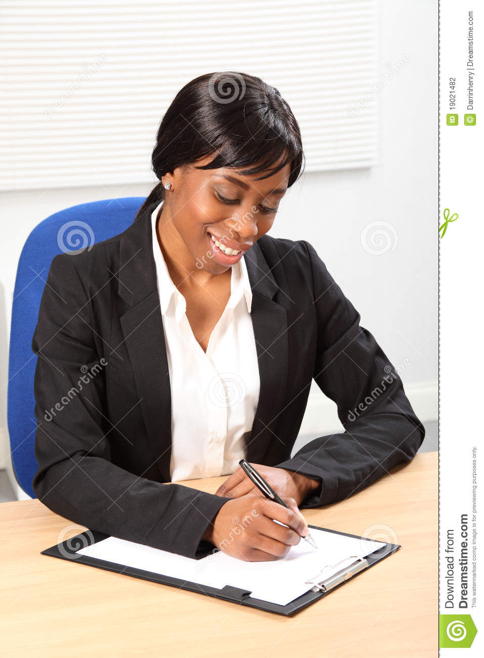woman sitting in chair clear dining room covers beautiful black business signing document stock photography - image: 19021482