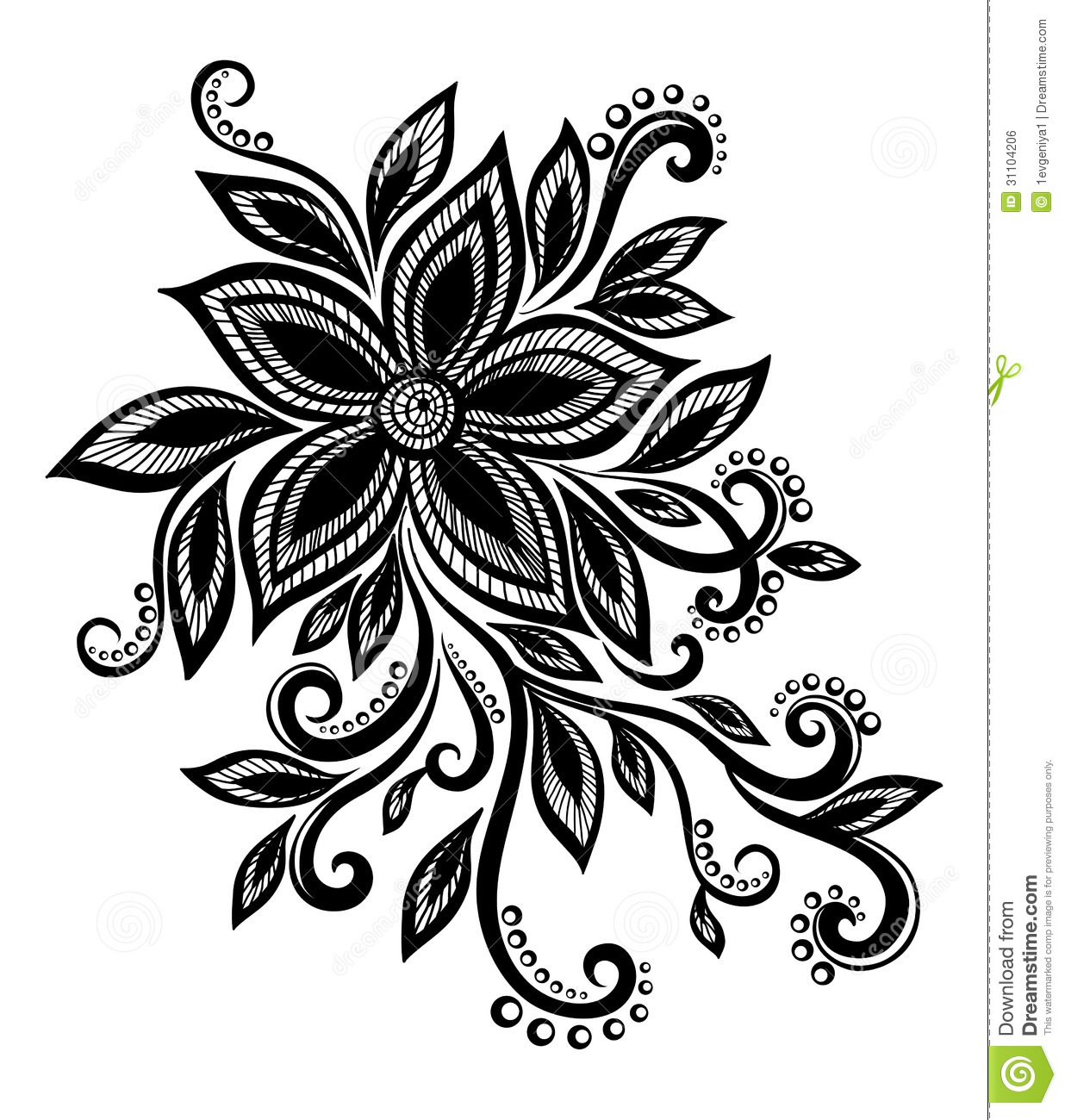 Beautiful Black And White Flower With Imitation Lace