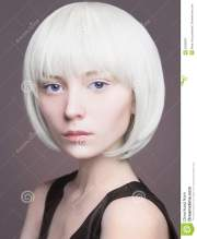 pretty young woman with blond bob