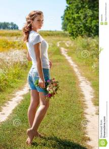 Beautiful Blonde Girl Walking Barefoot Summer Field